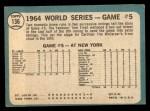 1965 Topps #136   -  Tim McCarver / Bill White / Dick Groat / Mike Shannon 1964 World Series - Game #5 - 10th Inning Triumph Back Thumbnail