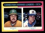 1975 Topps #311  1974 ERA Leaders  -  Catfish Hunter / Buzz Capra Front Thumbnail