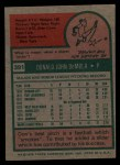 1975 Topps #391   Don DeMola Back Thumbnail