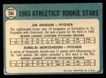 1965 Topps #286  Athletics Rookies  -  Jim Dickson / Aurelio Monteagudo Back Thumbnail