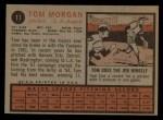 1962 Topps #11   Tom Morgan Back Thumbnail
