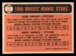 1966 Topps #518  Braves Rookies  -  Herb Hippauf / Arnie Umbach Back Thumbnail