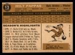 1960 Topps #12   Milt Pappas Back Thumbnail