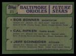 1982 Topps #21   Cal Ripken Jr / Bob Bonner / Jeff Schneider Back Thumbnail