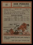 1962 Topps #41   Don Perkins Back Thumbnail