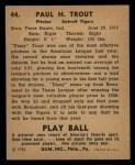 1940 #44  Dizzy Trout  Back Thumbnail