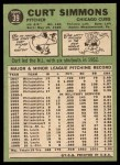1967 Topps #39   Curt Simmons Back Thumbnail