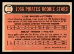 1966 Topps #498  Pirates Rookies  -  Woody Fryman / Luke Walker Back Thumbnail