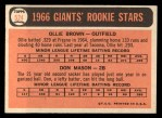 1966 Topps #524  Giants Rookies  -  Don Mason / Ollie Brown Back Thumbnail