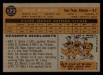 1960 Topps #172   Willie Kirkland Back Thumbnail