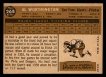 1960 Topps #268  Al Worthington  Back Thumbnail
