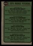 1974 Topps #602   Rookie Pitchers     -  Glenn Abbott / Rick Henninger / Craig Swan / Dan Vossler Back Thumbnail