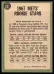 1967 Topps #287   Mets Rookie Stars  -  Greg Goossen / Bart Shirley Back Thumbnail
