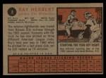 1962 Topps #8   Ray Herbert Back Thumbnail