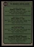 1974 Topps #600  Rookie Infielders    -  Bill Madlock / Ron Cash / Jim Cox / Reggie Sanders Back Thumbnail