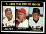 1967 Topps #244  1966 NL Home Run Leaders  -  Hank Aaron / Dick Allen / Willie Mays Front Thumbnail