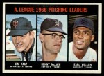 1967 Topps #235  1966 AL Pitching Leaders  -  Jim Kaat / Denny McLain / Earl Wilson Front Thumbnail