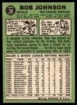 1967 Topps #38 COR  Bob Johnson Back Thumbnail
