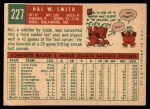 1959 Topps #227   Hal W. Smith Back Thumbnail