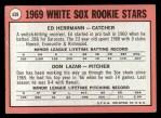 1969 Topps #439  White Sox Rookies  -  Ed Herrmann / Dan Lazar Back Thumbnail