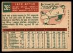 1959 Topps #269   Jack Meyer Back Thumbnail