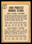 1968 Topps #559  Pirates Rookies  -  Carl Taylor / Luke Walker Back Thumbnail