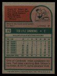 1975 Topps #75  Ted Simmons  Back Thumbnail