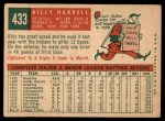 1959 Topps #433   Billy Harrell Back Thumbnail