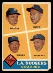 1960 Topps #463  Dodgers Coaches  -  Bobby Bragan / Pete Reiser / Joe Becker / Greg Mulleavy Front Thumbnail