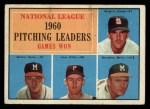 1961 Topps #47 ERR 1960 NL Pitching Leaders  -  Warren Spahn / Ernie Broglio / Lew Burdette / Vern Law Front Thumbnail