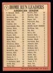 1969 Topps #5  1968 AL Home Run Leaders    -  Frank Howard / Willie Horton / Ken Harrelson Back Thumbnail