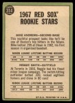 1967 Topps #314   Red Sox Rookie Stars  -  Reggie Smith / Mike Andrews Back Thumbnail