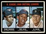 1967 Topps #239  AL Batting Leaders  -  Al Kaline / Tony Oliva / Frank Robinson Front Thumbnail