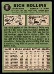 1967 Topps #98 COR Rich Rollins  Back Thumbnail