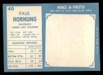 1961 Topps #40   Paul Hornung Back Thumbnail