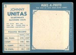 1961 Topps #1   Johnny Unitas Back Thumbnail