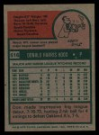 1975 Topps #516   Don Hood Back Thumbnail