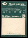 1960 Topps #74  Frank Gifford  Back Thumbnail