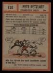 1962 Topps #120   Pete Retzlaff Back Thumbnail
