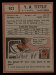 1962 Topps #102  Y.A. Tittle  Back Thumbnail