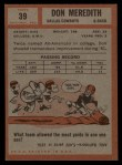 1962 Topps #39   Don Meredith Back Thumbnail