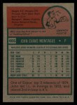 1975 Topps #405   John Montague Back Thumbnail