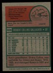 1975 Topps #406  Bob Gallagher  Back Thumbnail