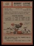 1962 Topps #127   Bobby Layne Back Thumbnail