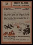 1962 Topps #57  Darris McCord  Back Thumbnail