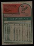 1975 Topps #432  Ken Berry  Back Thumbnail
