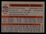 1957 Topps #114  Braves Team  Back Thumbnail