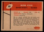 1960 Fleer #86  Bob Cox  Back Thumbnail