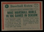 1975 Topps #6  Marshall Hurls In 106 Games  -  Mike Marshall Back Thumbnail