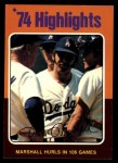 1975 Topps #6  Marshall Hurls In 106 Games  -  Mike Marshall Front Thumbnail